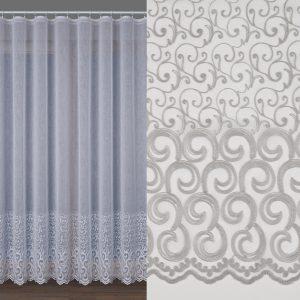 Firanka haftowana 000591 biało-popielata